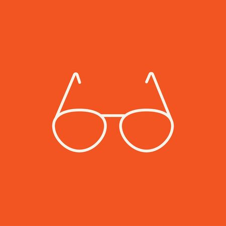 Eyeglasses line icon for web, mobile and infographics. Vector white icon isolated on red background. Ilustração