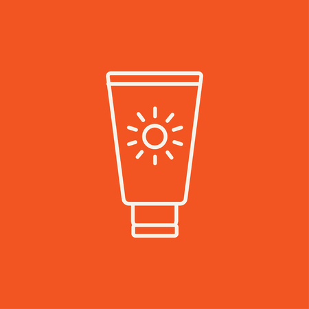 Sunscreen line icon for web, mobile and infographics. Vector white icon isolated on red background.