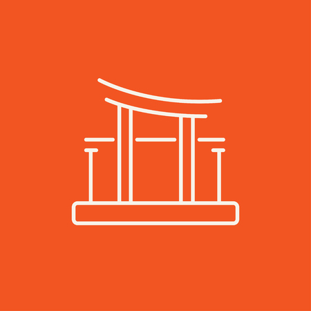 Torii gate line icon for web, mobile and infographics. Vector white icon isolated on red background. 向量圖像