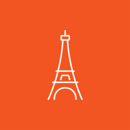 Eiffel Tower line icon for web, mobile and infographics. Vector white icon isolated on red background.