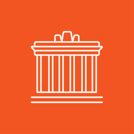 the acropolis: Acropolis of Athens line icon for web, mobile and infographics. Vector white icon isolated on red background.
