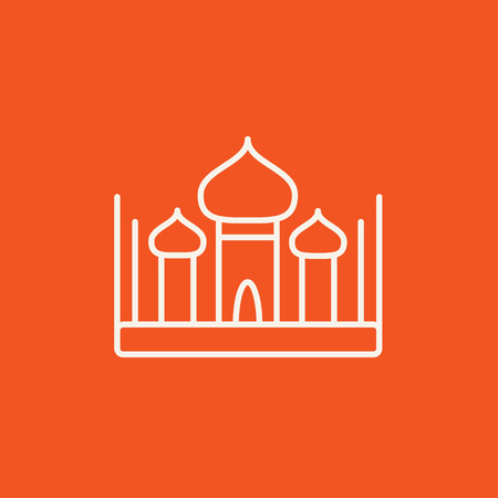 Mosque line icon for web, mobile and infographics. Vector white icon isolated on red background.