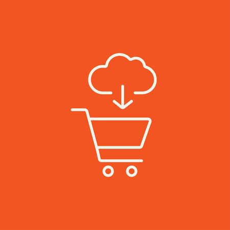 Cloud with arrow pointing at shopping cart line icon for web, mobile and infographics. Vector white icon isolated on red background. 向量圖像