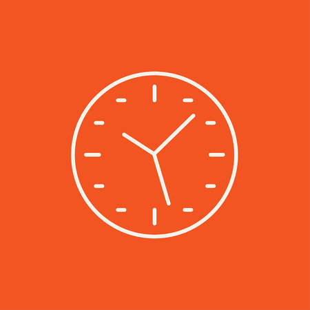Wall clock line icon for web, mobile and infographics. Vector white icon isolated on red background. Illustration