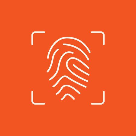 fingertip: Fingerprint scanning line icon for web, mobile and infographics. Vector white icon isolated on red background. Illustration