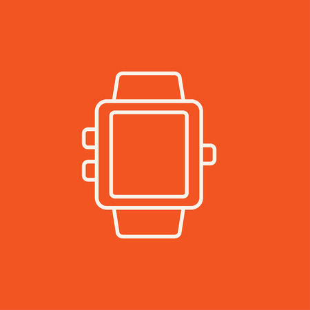 wireless internet: Smartwatch line icon for web, mobile and infographics. Vector white icon isolated on red background.