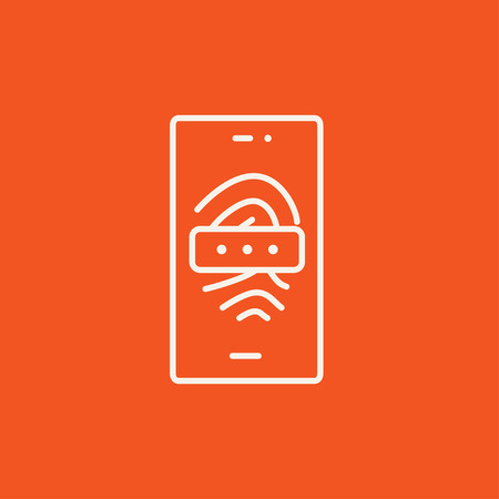 fingermark: Mobile phone scanning a fingerprint line icon for web, mobile and infographics. Vector white icon isolated on red background.