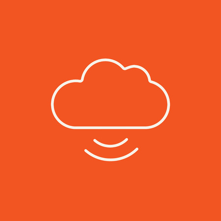 synchronizing: Cloud computing line icon for web, mobile and infographics. Vector white icon isolated on red background.