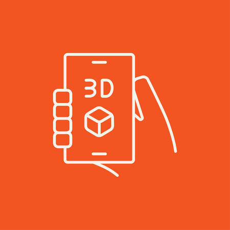 three d: Smartphone with three D box line icon for web, mobile and infographics. Vector white icon isolated on red background.