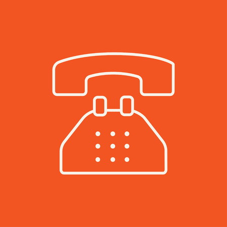 telephone line: Telephone line icon for web, mobile and infographics. Vector white icon isolated on red background. Illustration