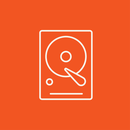 Hard disk line icon for web, mobile and infographics. Vector white icon isolated on red background. Illustration