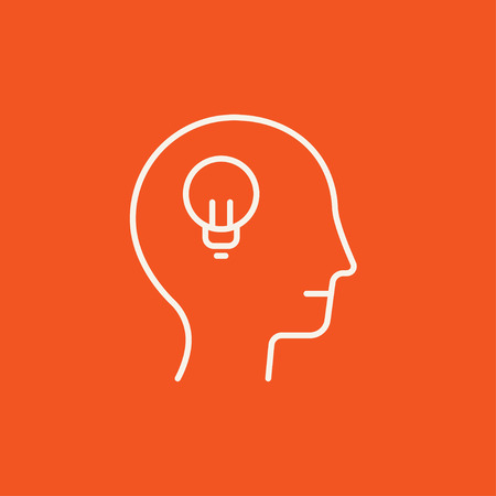 invent clever: Human head with light bulb line icon for web, mobile and infographics. Vector white icon isolated on red background.