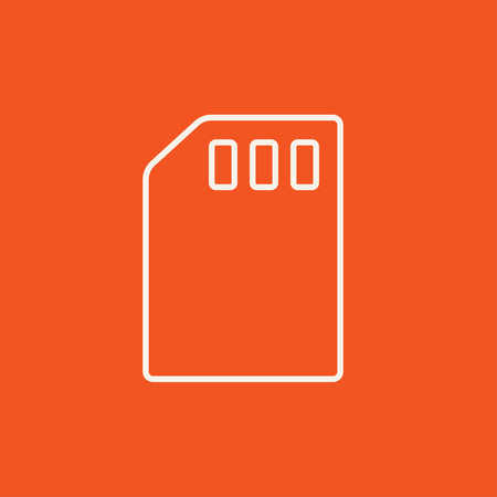 sim card: Sim card line icon for web, mobile and infographics. Vector white icon isolated on red background. Illustration