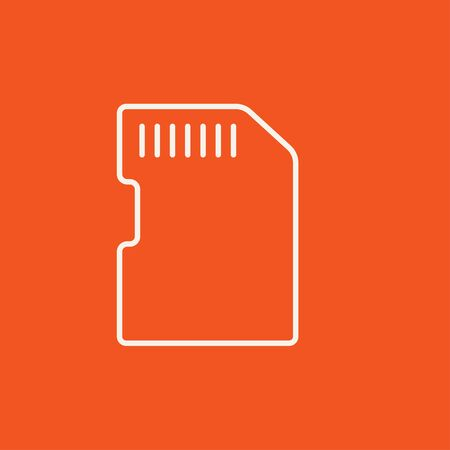 storage device: Memory card line icon for web, mobile and infographics. Vector white icon isolated on red background. Illustration