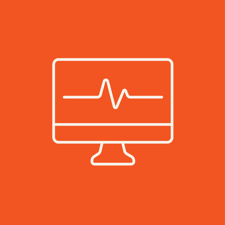heart monitor: Heart beat monitor line icon for web, mobile and infographics. Vector white icon isolated on red background. Illustration