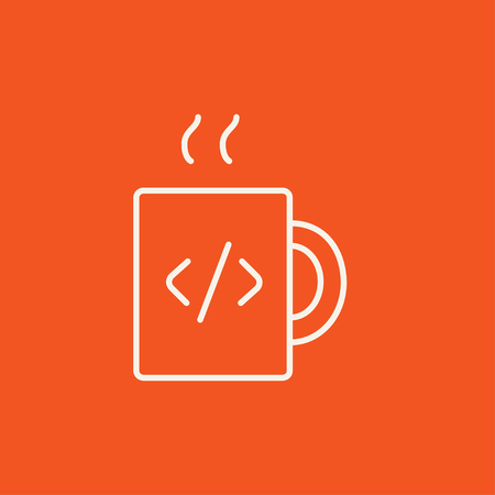 ean: Cup of coffee with a code sign line icon for web, mobile and infographics. Vector white icon isolated on red background.