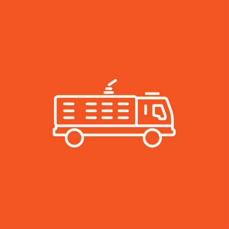camion: Fire truck line icon for web, mobile and infographics. Vector white icon isolated on red background.