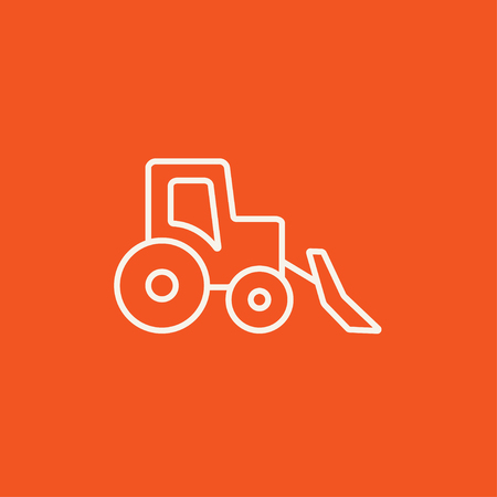 Bulldozer line icon for web, mobile and infographics. Vector white icon isolated on red background.