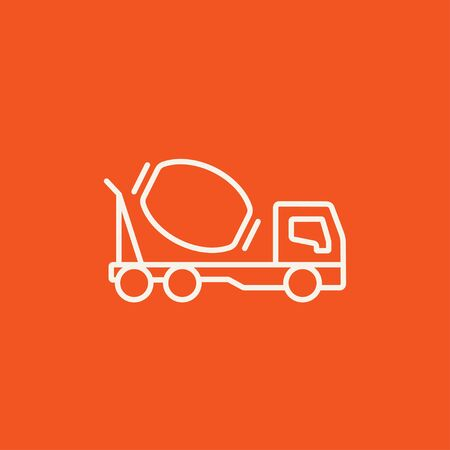 Concrete mixer truck line icon for web, mobile and infographics. Vector white icon isolated on red background. Illusztráció