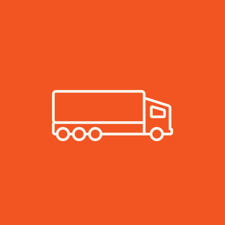 Delivery truck line icon for web, mobile and infographics. Vector white icon isolated on red background. 向量圖像