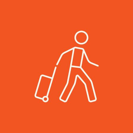 Man with suitcase line icon for web, mobile and infographics. Vector white icon isolated on red background.