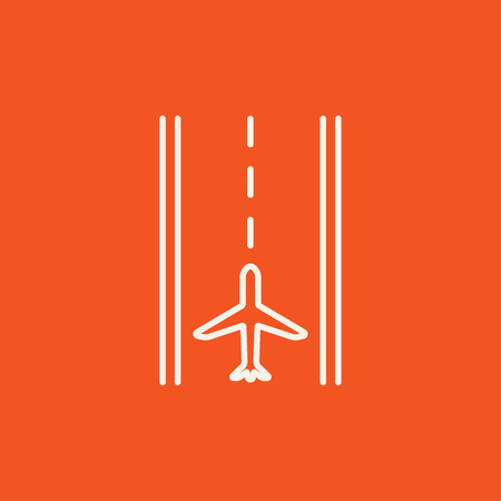 Airport runway line icon for web, mobile and infographics. Vector white icon isolated on red background.