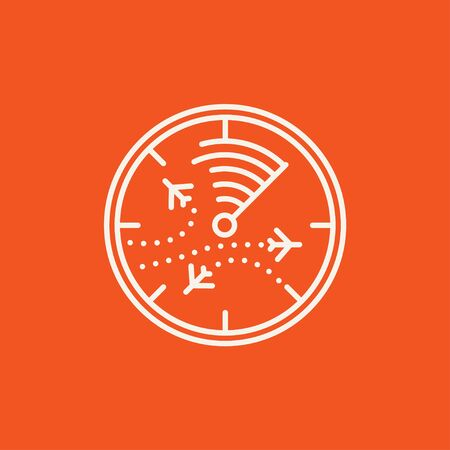 blip: Radar screen with planes line icon for web, mobile and infographics. Vector white icon isolated on red background. Illustration