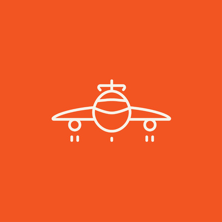 undercarriage: Airplane line icon for web, mobile and infographics. Vector white icon isolated on red background.