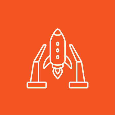 takeoff: Space shuttle on a take-off area line icon for web, mobile and infographics. Vector white icon isolated on red background.