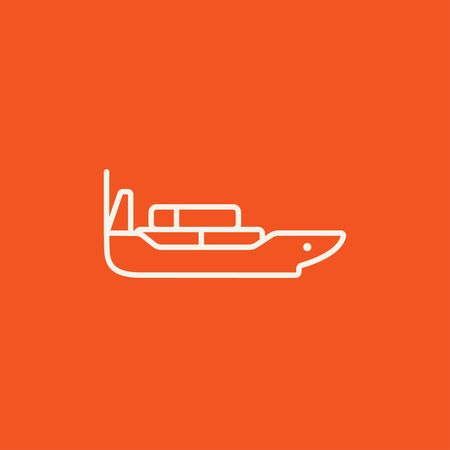 navy pier: Cargo container ship line icon for web, mobile and infographics. Vector white icon isolated on red background. Illustration