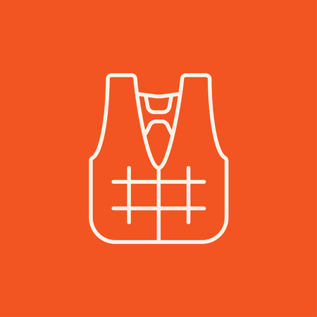 vest in isolated: Life vest line icon for web, mobile and infographics. Vector white icon isolated on red background. Illustration