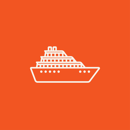 hull: Cruise ship line icon for web, mobile and infographics. Vector white icon isolated on red background.