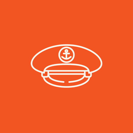 captain cap: Captain peaked cap line icon for web, mobile and infographics. Vector white icon isolated on red background. Illustration