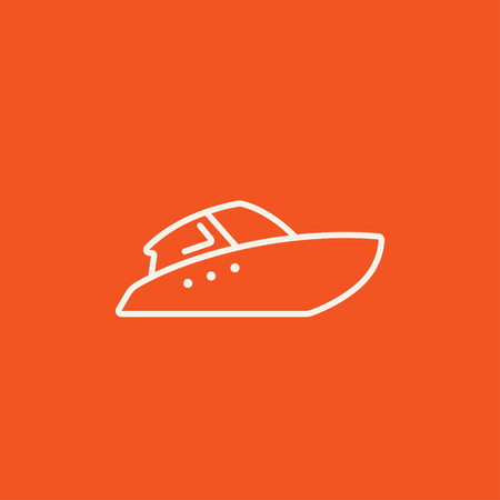 Speedboat line icon for web, mobile and infographics. Vector white icon isolated on red background. 向量圖像