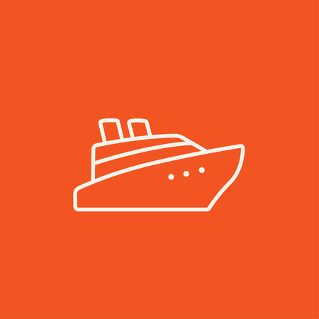 Cruise ship line icon for web, mobile and infographics. Vector white icon isolated on red background.