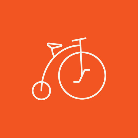 velocipede: Old bicycle with big wheel line icon for web, mobile and infographics. Vector white icon isolated on red background. Illustration