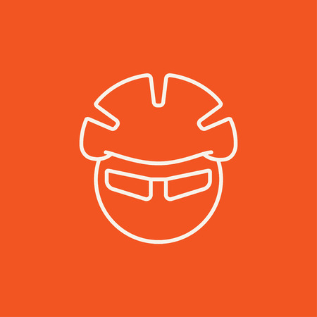 outline red: Man in bicycle helmet and glasses line icon for web, mobile and infographics. Vector white icon isolated on red background.