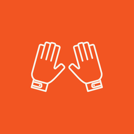 Motorcycle gloves line icon for web, mobile and infographics. Vector white icon isolated on red background. 向量圖像