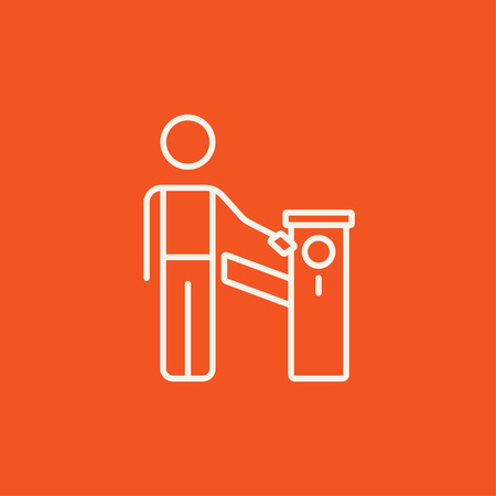 Man at car barrier line icon for web, mobile and infographics. Vector white icon isolated on red background.