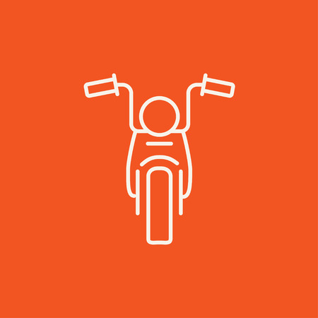 Motorcycle line icon for web, mobile and infographics. Vector white icon isolated on red background.