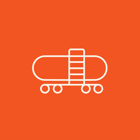 Railway cistern line icon for web, mobile and infographics. Vector white icon isolated on red background. 向量圖像