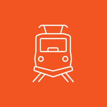 Front view of train line icon for web, mobile and infographics. Vector white icon isolated on red background. Illustration