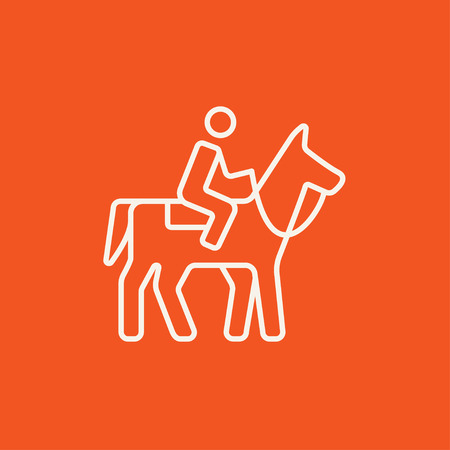 stirrup: Horse riding line icon for web, mobile and infographics. Vector white icon isolated on red background.