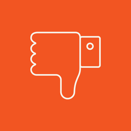 disapprove: Thumb down hand sign line icon for web, mobile and infographics. Vector white icon isolated on red background. Illustration