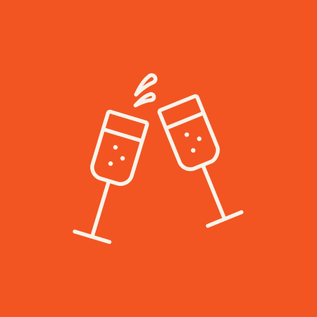 champaign: Two glasses of champaign line icon for web, mobile and infographics. Vector white icon isolated on red background.
