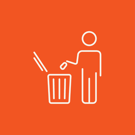 throwing: Man throwing garbage in a bin line icon for web, mobile and infographics. Vector white icon isolated on red background.