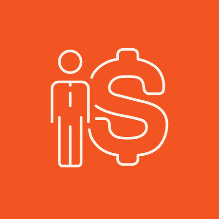 fullbody: Businessman standing beside the dollar symbol line icon for web, mobile and infographics. Vector white icon isolated on red background.