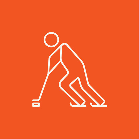 skating on thin ice: Hockey player line icon for web, mobile and infographics. Vector white icon isolated on red background. Illustration