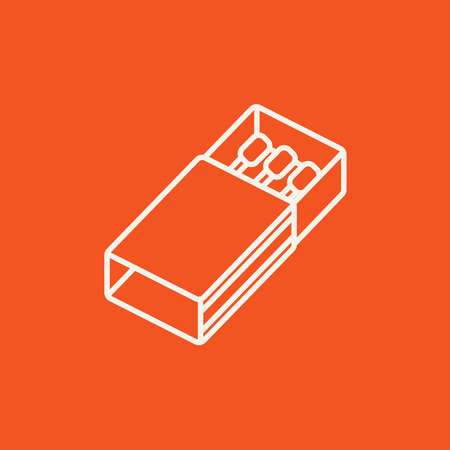 matchbox: Matchbox line icon for web, mobile and infographics. Vector white icon isolated on red background.