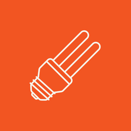 bombillo ahorrador: Energy saving light bulb line icon for web, mobile and infographics. Vector white icon isolated on red background.